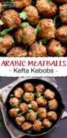 arabic meatballs in a cast iron pan
