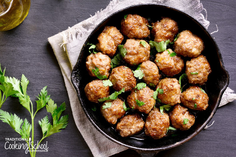 arabic meatballs in a cast iron pan
