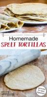 homemade spelt tortillas on plate and with rolling pin