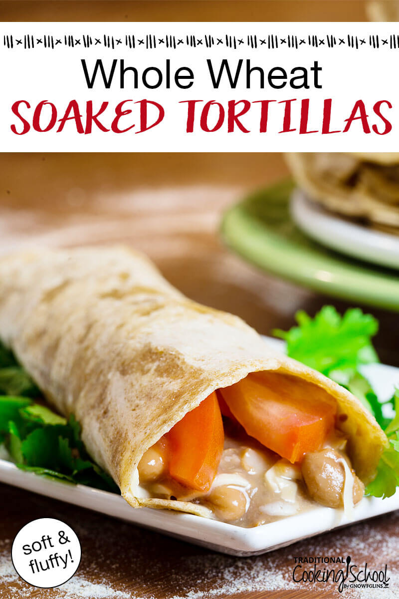 whole wheat flour tortilla rolled into a burrito with parsley