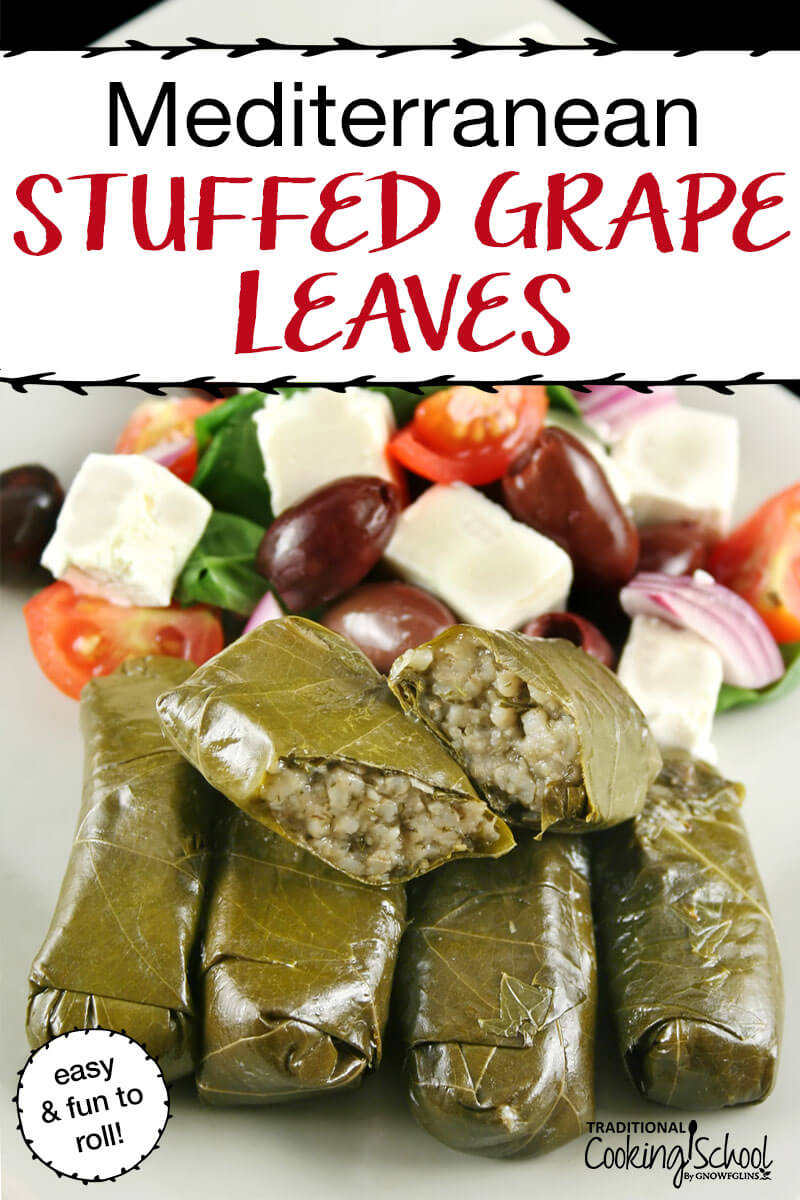 Mediterranean Stuffed Grape Leaves {Dolmas} are one of my all-time favorite foods. When we had them growing up, it was a family affair. Whoever was home loved to get in on the rolling. My mom would lead us in making a huge pot of them, stuffed full with deliciously seasoned meat, rolled in a grape leaf drenched in lemon juice. We would eat off this Greek favorite for days, if they lasted that long! #stuffedgrapeleaves #recipe #mediterranean #greek #stuffed #lamb #beef #tradcookschool