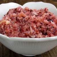 cranberry relish in white dish