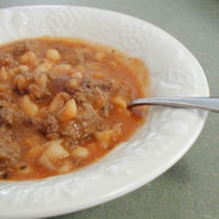 Northern Bean Stew in a white bowl