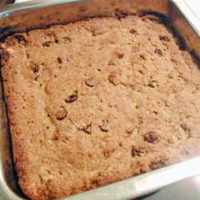 chocolate chip cookie bars in baking pan