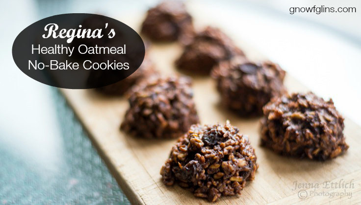 Regina's Healthy Oatmeal No-Bake Cookies | My friend Regina made over the traditional oatmeal no-bake cookie recipe to be more healthy. I called her the other day and begged for it -- my kids were desperate for a snack and I was short on time. These cookies fit the bill, deliciously! | TraditionalCookingSchool.com