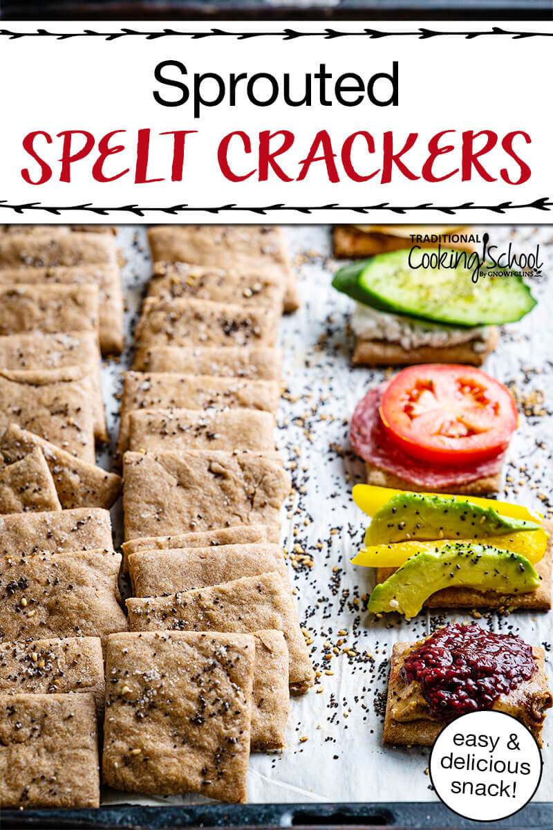 spelt crackers in a stack and crackers with toppings with text 'Sprouted Spelt Crackers""