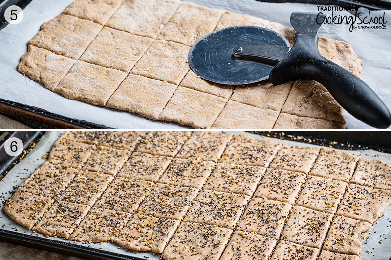 Two image collage of making homemade crackers. Cutting crackers with a pizza cutter and seasoning crackers with herbs, seeds, and spices.
