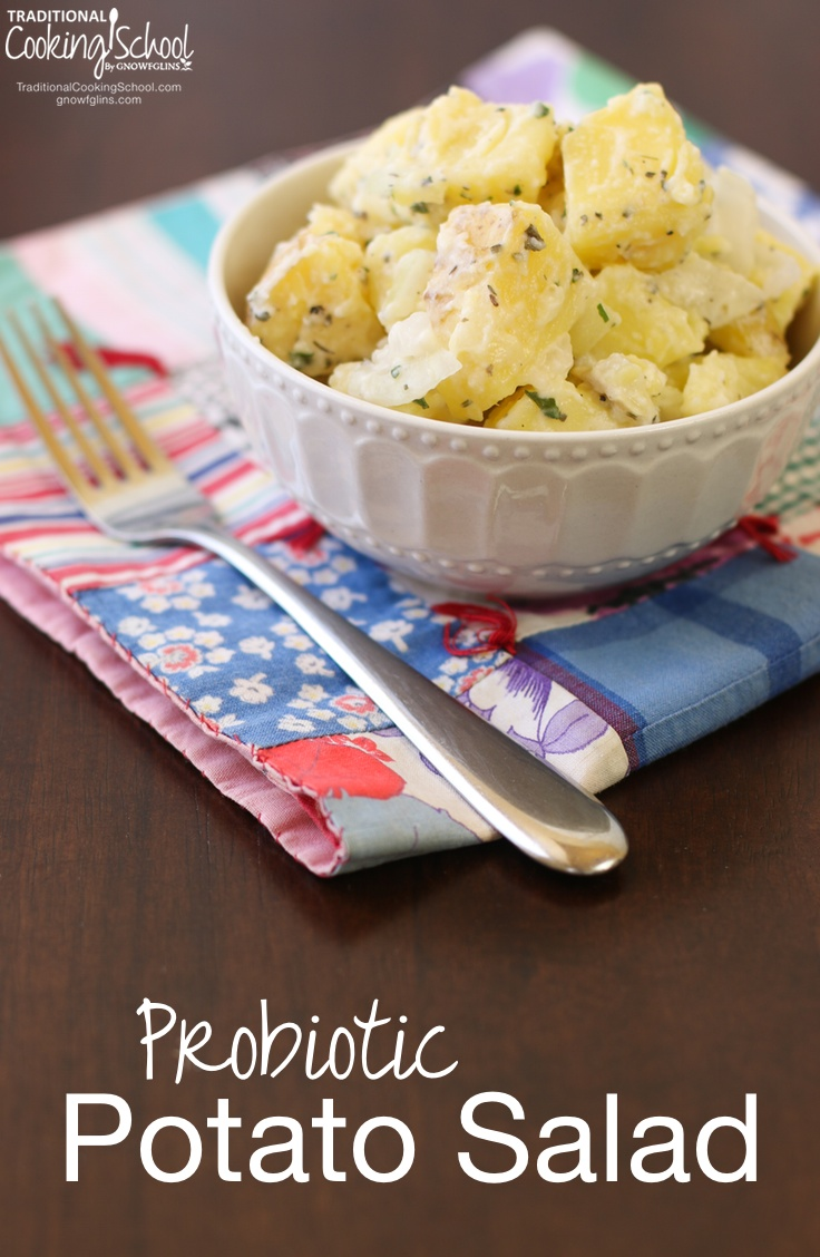 Probiotic Potato Salad | Why would my family be astounded that they liked *this* potato salad? Because my family doesn't like kefir! This potato salad packs a nutritious punch -- and picky eaters are none the wiser! | TraditionalCookingSchool.com