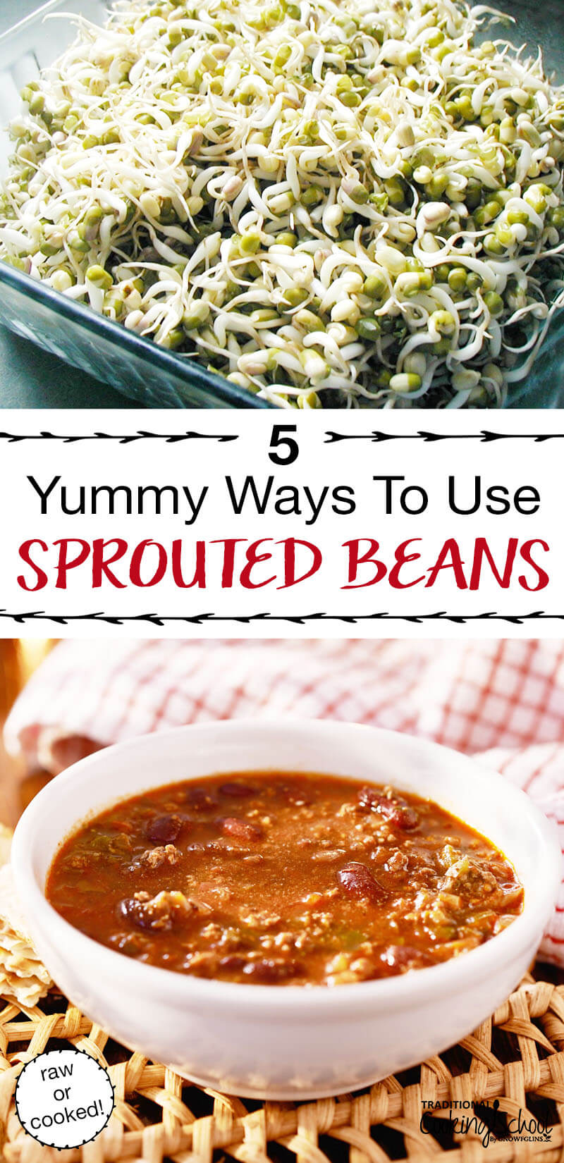 5 Yummy Ways To Use Sprouted Beans | Beans and winter go together. Sprouting gives us fresh, enzyme-rich vegetables during those darker, leaner months -- because sprouted beans digest as vegetables! From salad to soup and beyond, here are 5 yummy ways to use sprouted beans. | TraditionalCookingSchool.com