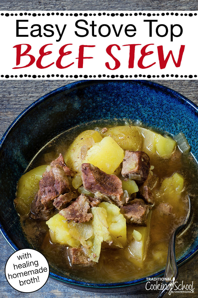 beef stew in blue tin