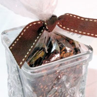 Chai Tea wrapped in clear wrapper with brown bow in a jar