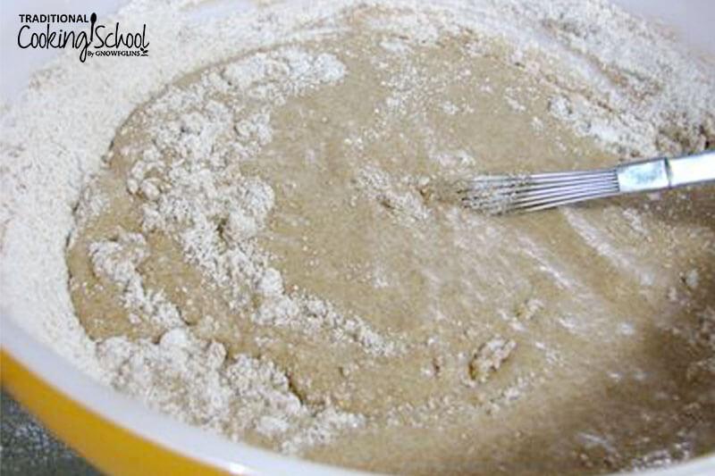 spelt muffin being mixed