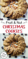 Fruit and nut Christmas cookies with almonds and raisins close up