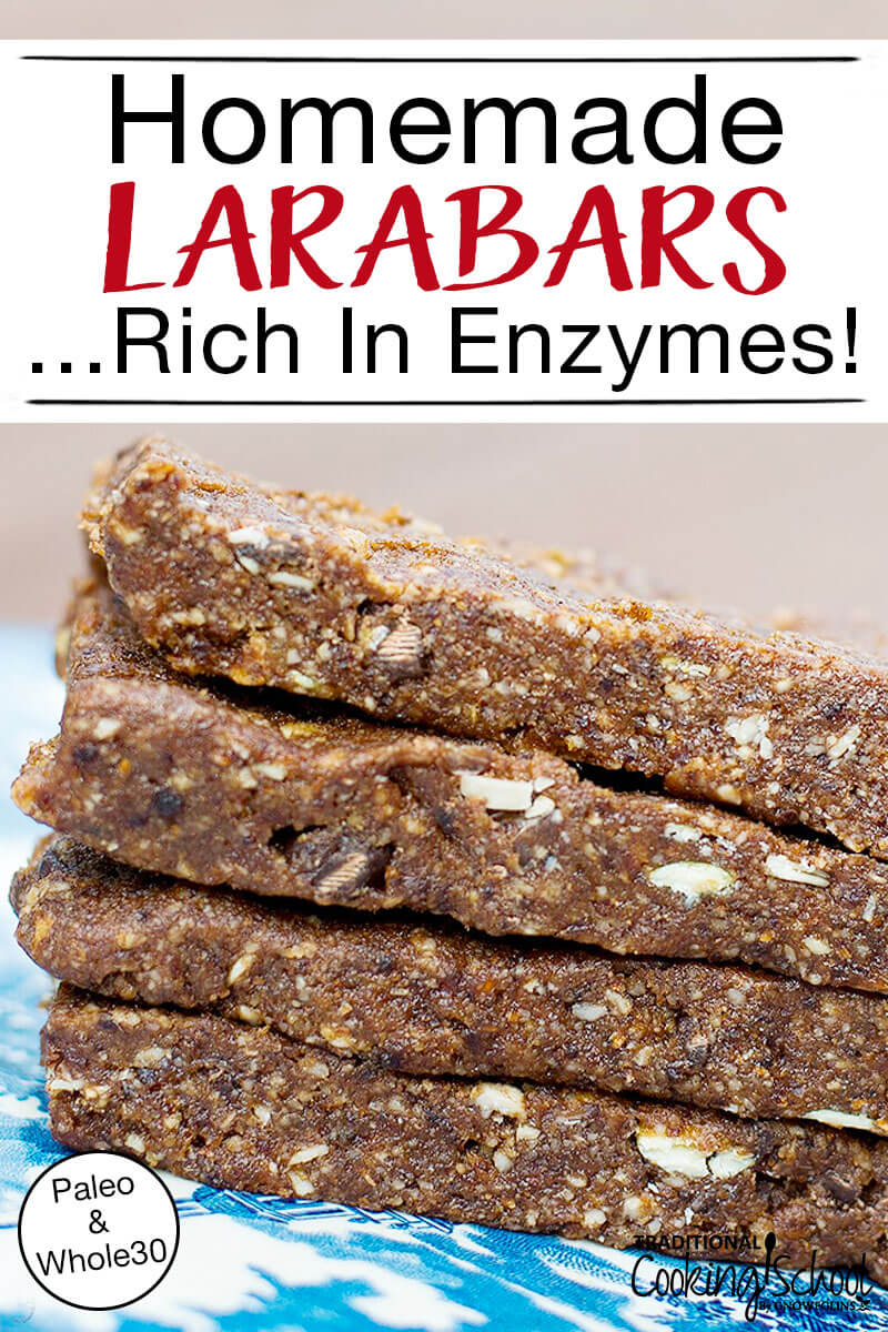 "Enzyme-Rich Homemade Larabars | I've dreamed for a long time of making homemade Larabars. Yet I put it off, and put it off, till this week I read about foods that are excellent sources of digestive enzymes. That inspired me to dive in! It just so happens that 2 of the key ingredients in Larabars -- dates and nuts -- fit into the ""excellent sources of digestive enzymes"" category! I use soaked and dehydrated nuts in these homemade Larabars, making them a digestive enzyme-rich food! 