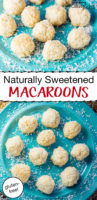naturally sweetened macaroon cookies on a blue plate