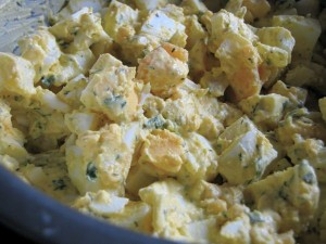 Egg salad! We love it. It is a great meal for a busy mom, because it is so easy to whip up in a pinch. This is my basic egg salad, which is admittedly, nothing fancy. I season to taste, so it is not much of a recipe, either. Be sure to share how you make your egg salad! Do you have any special ingredients that kick yours up? | TraditionalCookingSchool.com