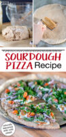 "Photo collage of making pizza: about to knead the dough, rolling out the dough, and the finished pizza on a wooden table, topped with tomatoes, greens, onions, meat and cheese. Text overlay: ""Homemade Sourdough Pizza (naturally leavened with wild yeast!)"""