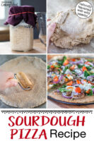 "Photo collage of making pizza: jar of bubbly sourdough starter, kneading the dough, rolling out the dough, and the finished pizza on a wooden table, topped with tomatoes, greens, onions, meat and cheese. Text overlay: ""Sourdough Pizza Recipe (naturally leavened with wild yeasts!)"""