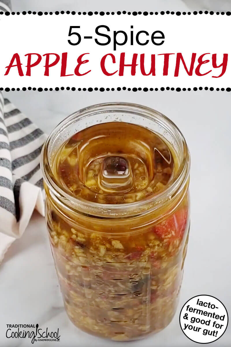 5-Spice Apple Chutney {lacto-fermented} | Kicked up with the Chinese 5-Spice Blend, lacto-fermented apple chutney has been rocking our house lately. I can't keep enough of it on hand for the kids. They love to put a scoop of it in a bowl of kefir. We just went through 1/2 gallon of it in 3 days -- and that was with me telling them not to take so much! | TraditionalCookingSchool.com