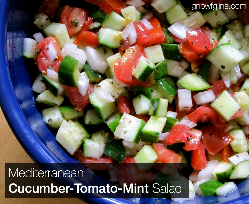 Cucumber Tomato Mint Salad | When the cucumbers and tomatoes are in season, I go a little crazy. Can you blame me? We eat one of three cucumber and/or tomato salads just about every day. Here's one of my favorites! | TraditionalCookingSchool.com