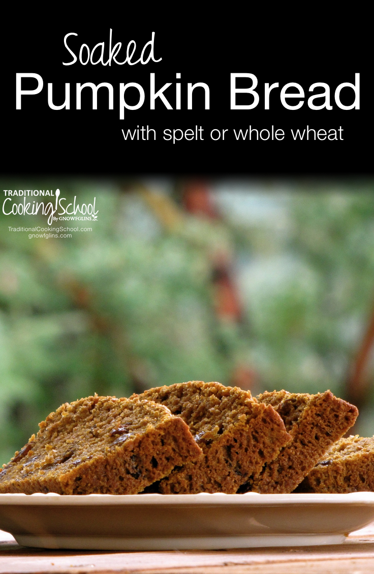 Soaked Pumpkin Bread | Spiced baked goods and warm tea fit the turning weather here in Oregon. I like the cozy, sheltered feel of the clouds and enjoying warming dishes again, like this pumpkin bread that's made with spelt and soaked for maximum digestion and nutrition. | TraditionalCookingSchool.com