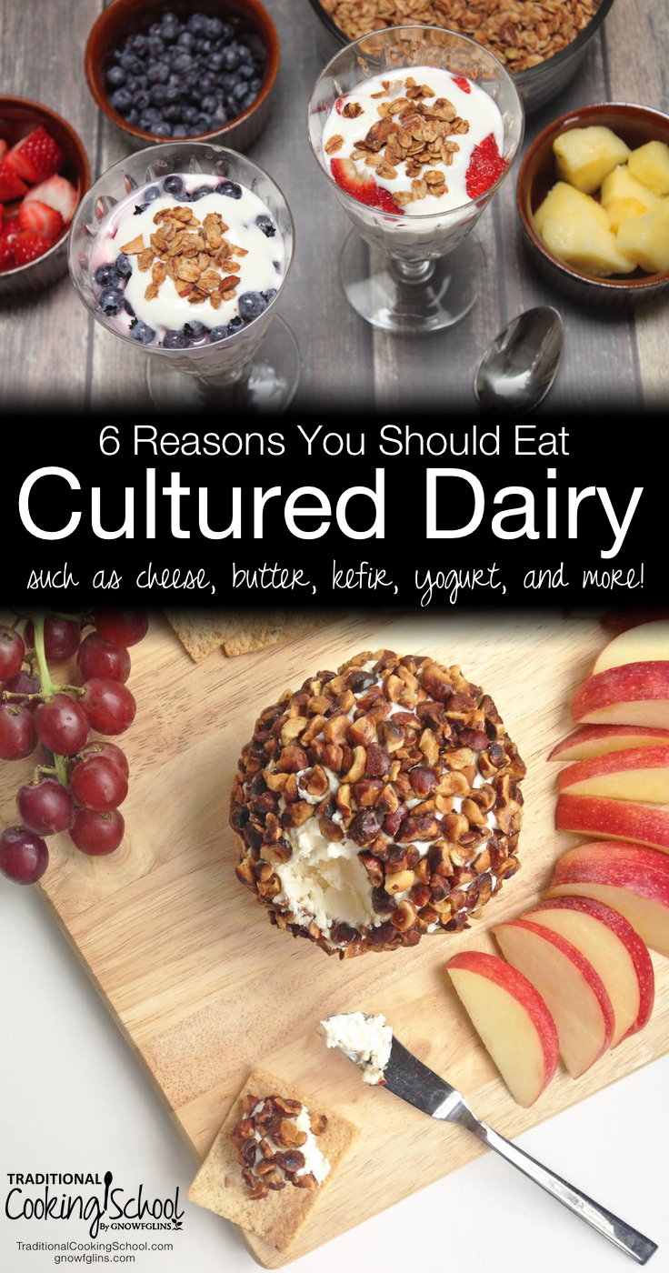 6 Reasons You Should Eat Cultured Dairy | In our Cultured Dairy and Basic Cheese eCourse (included with any membership), you can learn to make your own buttermilk, sour cream, cultured butter, yogurt, various cheeses and more. As if these foods aren't already delicious in their own right, here's WHY you should eat them, plus a free video! | TraditionalCookingSchool.com