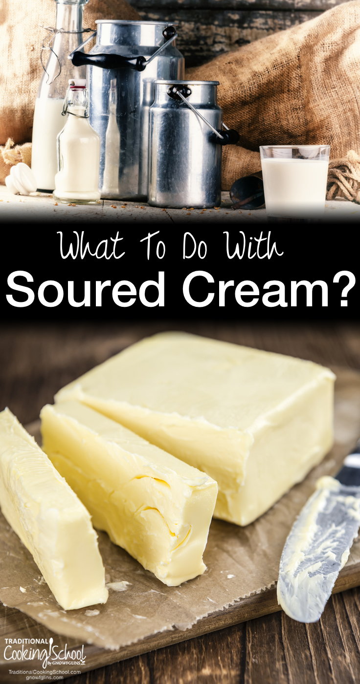 "What To Do With Soured Cream? | Today's question comes from DeDe: ""I have some raw cream that's been in my fridge for about a month. It now smells sour but not quite like sour cream. What can I do with it?"" I have good news for you! Raw milk and cream *sour* rather than go bad -- so you don't have to throw the out! Here's what to do with soured cream. 