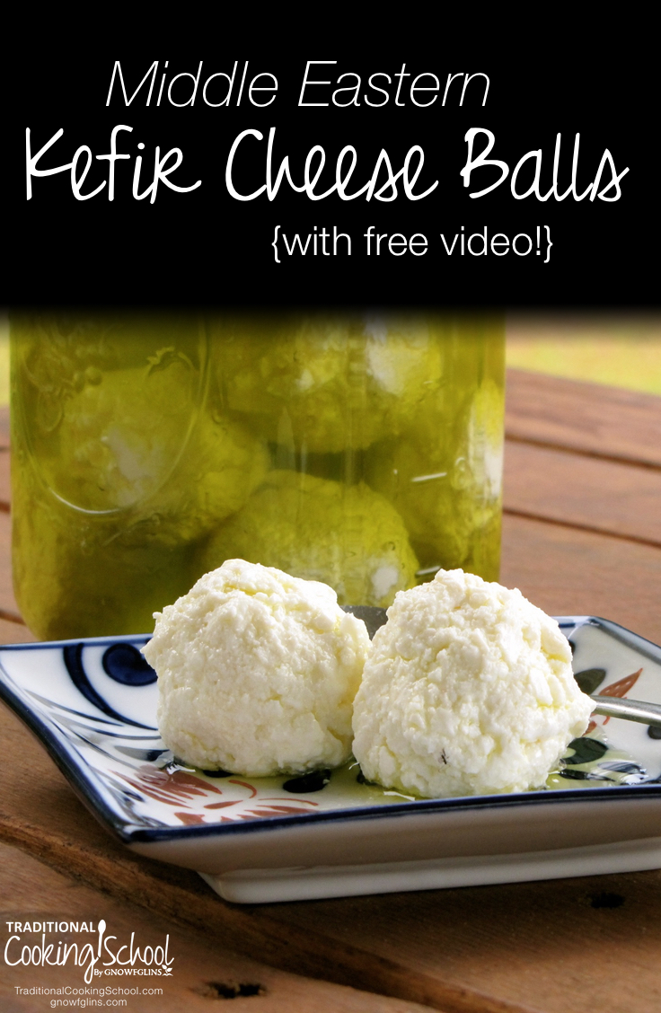 Middle Eastern Kefir Cheese Balls {with free video!} | In today's free video and recipe, I show you a traditional Middle Eastern method of preserving yogurt cheese that requires no refrigeration. My grandmother and namesake, Tata Wardee, who has passed away, always had jars full of yogurt cheese balls available to add to our plates at breakfast, lunch and dinner! | TraditionalCookingSchool.com
