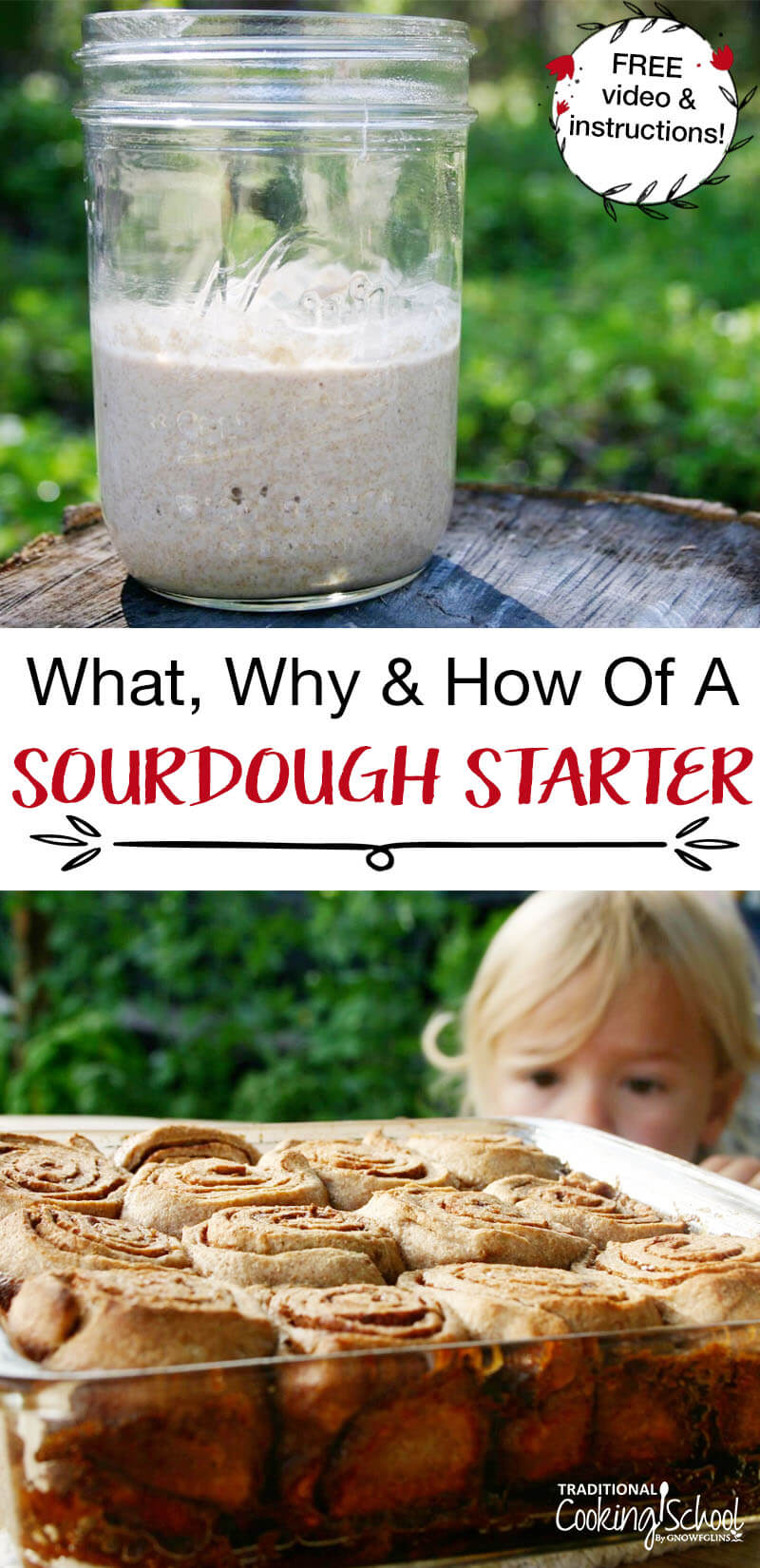 "Want to make a sourdough starter? Learn the ""What Why & How Of A Sourdough Starter"" (plus a free video + best instructions!). With our easy recipe for how to make a sourdough starter we're confident you'll have first time success. Starter is amazing for so many uses from bread, pancakes, muffins and more. Whether you make a whole wheat, rye or gluten free sourdough starter is up to you. Our tips will be helpful no matter which kind you make. #sourdough #starter #recipe #easy #feeding #tradcookschool"