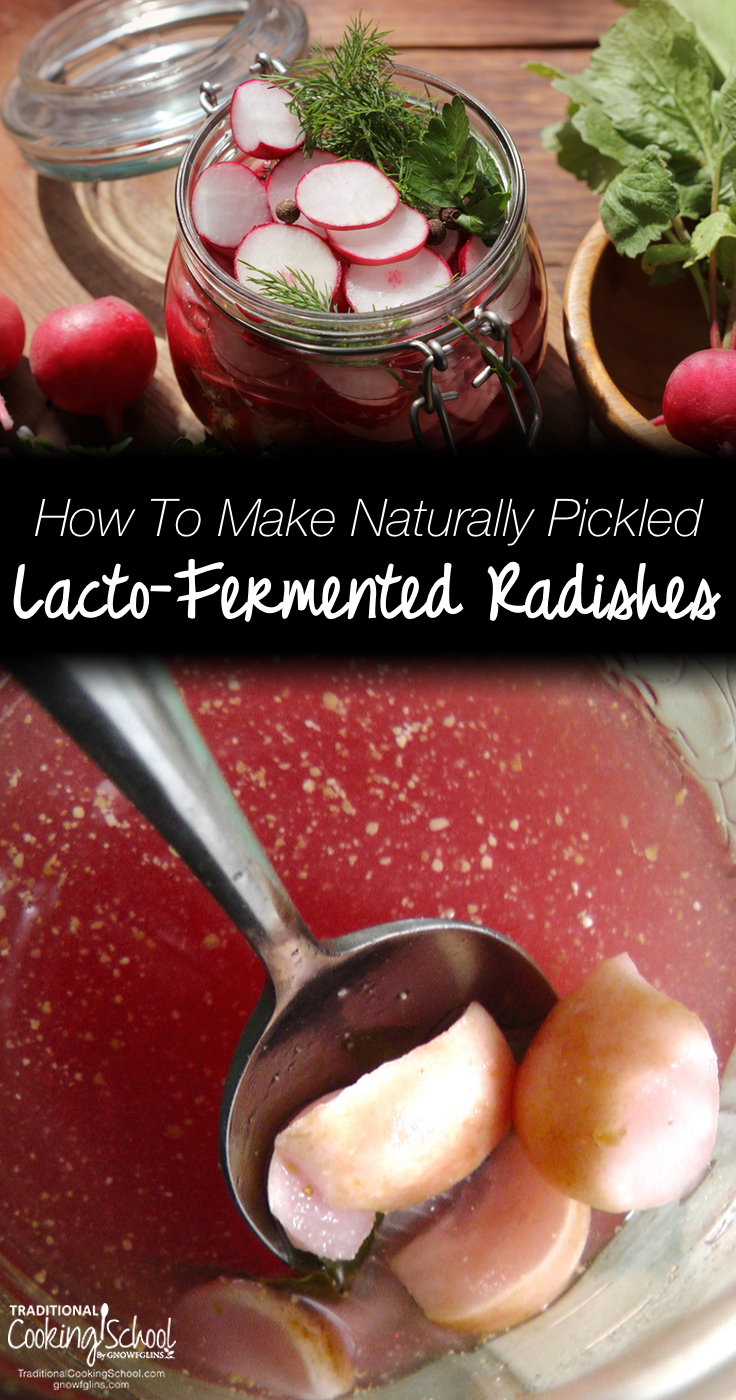 How To Make Naturally Pickled, Lacto-Fermented Radishes | Scraping the bottom of the jar. These naturally pickled radishes are that good. In about two weeks, we'll be harvesting radishes from our garden and you know I'll be making more. The brine is just about the prettiest I've seen. And the nutrition? Can't be beat. | TraditionalCookingSchool.com