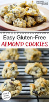 """Longer Pinterest pin with almond cookies on cooling rack and a plate of almond cookies. Text overlay, """"Easy Gluten-Free Almond Cookies: moist & chewy texture!"""""""