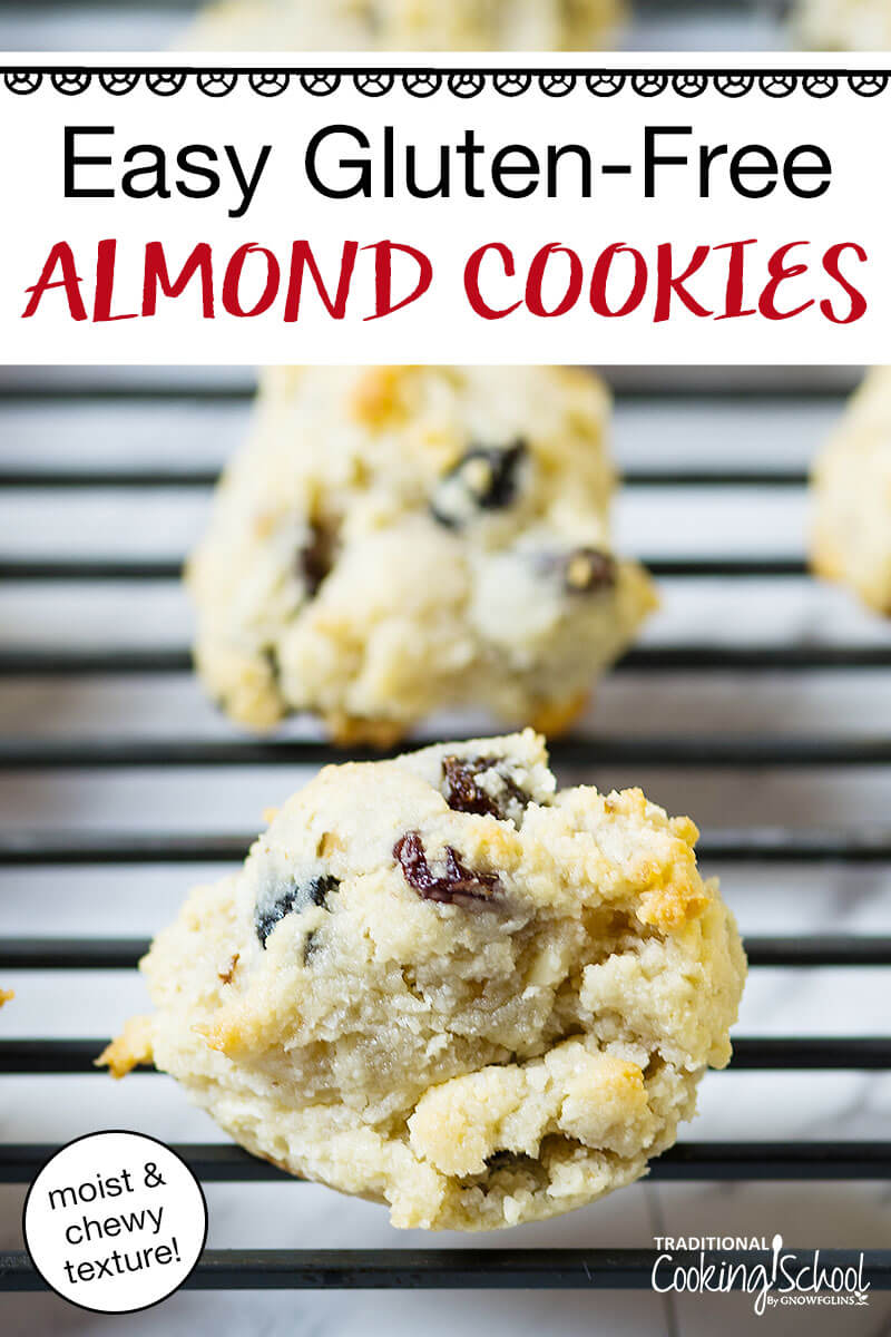 almond cookies on cooling rack