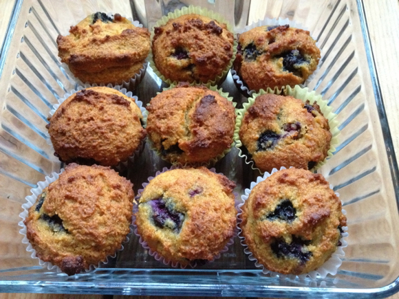 Blueberry-Lemon Muffins | 'Tis the season for berry picking! When we came home with 34 pound of blueberries, I created these scrumptious blueberry-lemon muffins. You can use blanched almond flour in this recipe if you're on GAPS, or spelt or wheat flour if you're not. Enjoy! | TraditionalCookingSchool.com