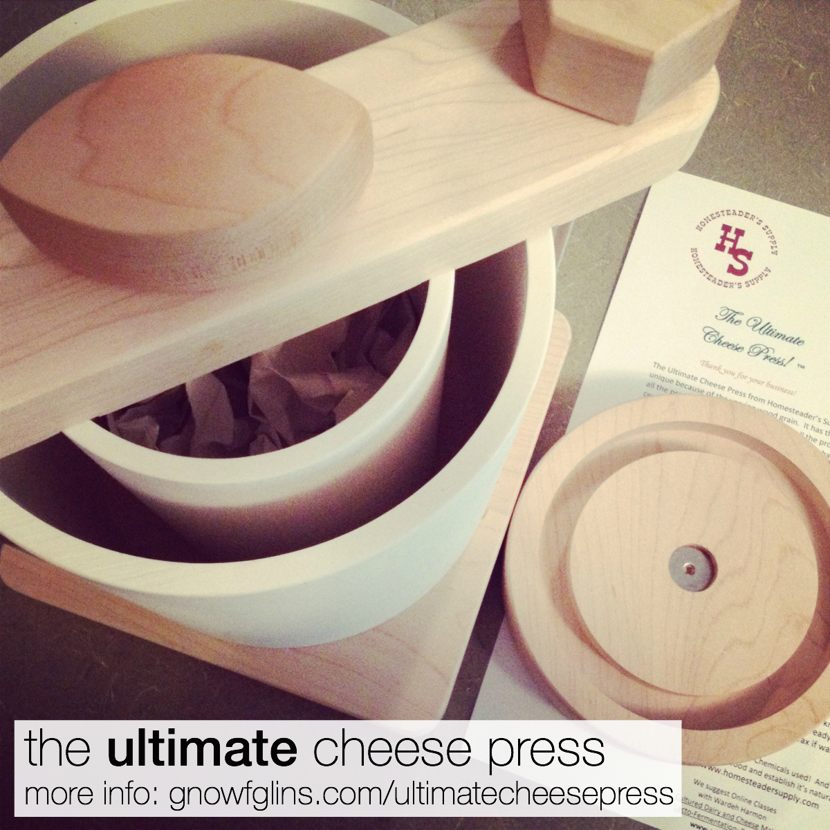(Video Review and How-To) The Ultimate Cheese Press GNOWFGLINS | I had a treat recently -- Jerri and Nance from HomesteaderSupply.com sent me a cheesepress as a gift. Not just any press, but The Ultimate Cheese Press. I like this cheesepress so much, I made a video to show you how to use it. In the video, you'll see it's a breeze to make cheese, plus I share why I like it so much. Please do watch the video, and you'll see how easy it is to make cheese. | TraditionalCookingSchool.com