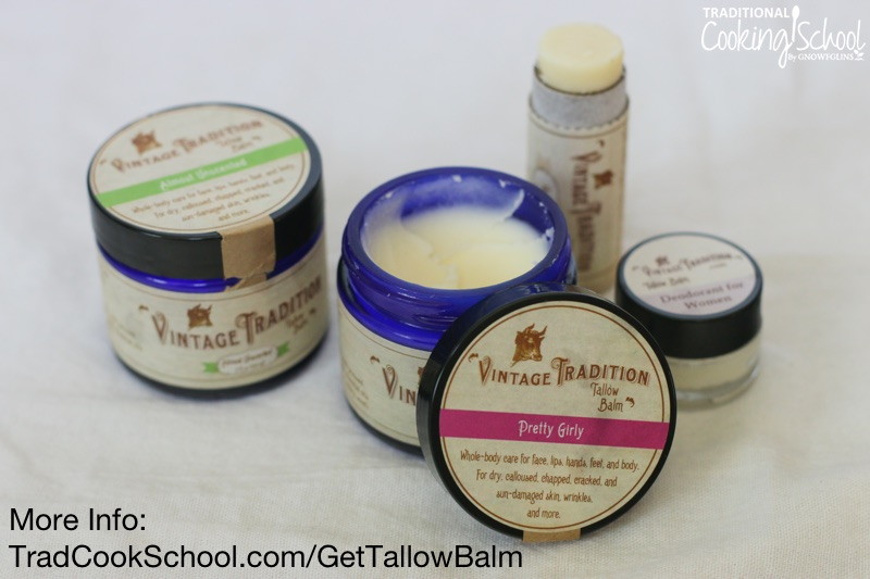 "several small glass jars of Vintage Tradition products, including tallow balm and lip balm, with text overlay: ""More Info: TradCookSchool.com/GetTallowBalm"""