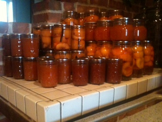 Canned peaches and jam