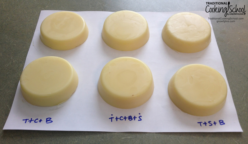 Nourishing Tallow Hard Lotion Bars | A hard lotion bar can be applied to the hands regularly without gunking-up everything one touches, unlike balms and lotions. These contain skin-nourishing fat and healing essential oils. Plus, they're so easy to make! | TraditionalCookingSchool.com