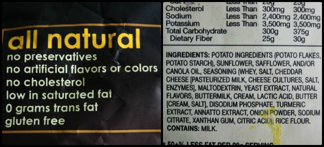 "Learning to read an ingredients list is important. You can't always trust the marketing claims on the packaging! Although there is not usually an obvious discrepancy between the claims and the ingredients, remember that just because something is ""all natural"" doesn't mean it's something you should eat often! 