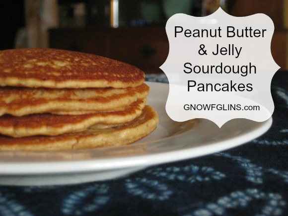 I have an unabashed, unadulterated, unrelenting love affair with sourdough. So in my ever-curious desire to come up with new sourdough recipes, I discovered these peanut butter and jelly sourdough pancakes. They're very simple and they're actually a great way to pack a PB sandwich to go: just use the pancakes as the bread, spread your favorite jelly or jam in between, and you've got a fairly tidy little sandwich.   TraditionalCookingSchool.com