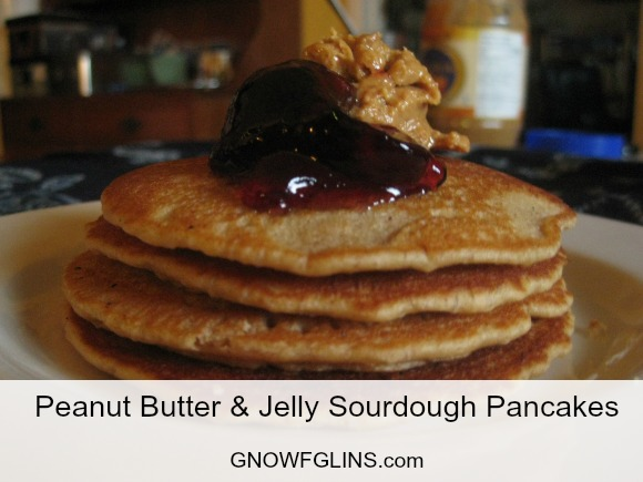 I have an unabashed, unadulterated, unrelenting love affair with sourdough. So in my ever-curious desire to come up with new sourdough recipes, I discovered these peanut butter and jelly sourdough pancakes. They're very simple and they're actually a great way to pack a PB sandwich to go: just use the pancakes as the bread, spread your favorite jelly or jam in between, and you've got a fairly tidy little sandwich. | TraditionalCookingSchool.com