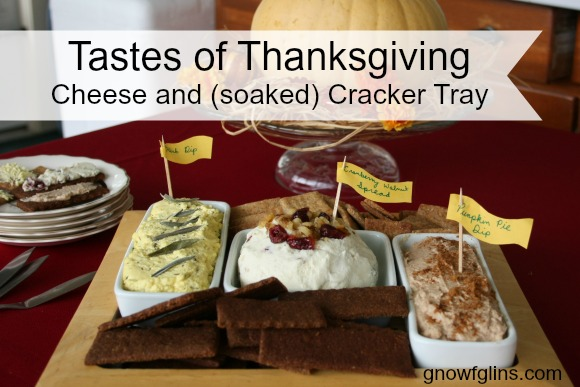 Cheese and (soaked) Cracker Tray | Do you need to take a dish to your family meal or other gathering? Why not put together this appetizer tray featuring three cheese spreads inspired by the traditional flavors of the season, and two types of soaked crackers to go with them? Yum! | TraditionalCookingSchool.com