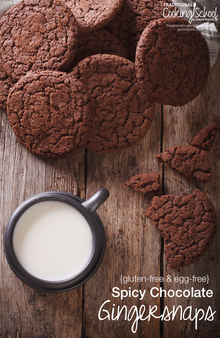 Spicy Chocolate Gingersnaps {gluten-free & egg-free} | This recipe for gluten-free and egg-free chocolate gingersnaps is adapted from Nourishing Traditions. I liked that it used sprouted crispy almonds and arrowroot flour, making it easier to digest. I couldn't fathom a gingersnap without molasses. And all things seem to be better with chocolate. They will forever be on our list of Christmas cookies to make each year! | TraditionalCookingSchool.com