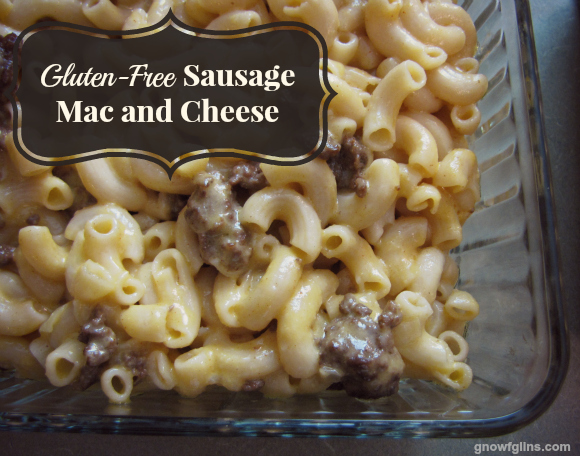 Gluten-Free Sausage Mac and Cheese | No surprise, like everyone, we're big fans of macaroni and cheese. I've shared a stovetop real food mac and cheese in the past. This one is gluten-free, too, but it's also baked and has a brown-rice thickened cheese sauce with smoked paprika. It's worth the extra time to make the sauce and bake the dish. It's absolutely scrumptious with the toasty oven-baked cheese. | TraditionalCookingSchool.com