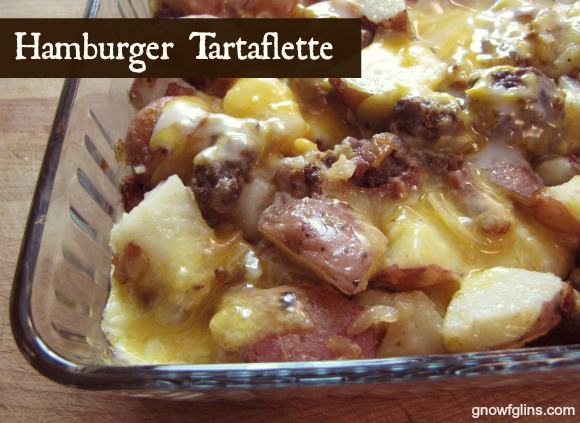 "Hamburger Tartaflette. My husband called it a ""really good version of scalloped potatoes!"" Keep it in mind for your Christmas leftovers, or leftovers from any big meal. Boil up a pot of potatoes if you don't have leftover potato chunks. For the meat, use whatever is leftover, be it turkey, ham, lamb, beef, goose or what not. Hamburger (or any meat) Tartaflette. 