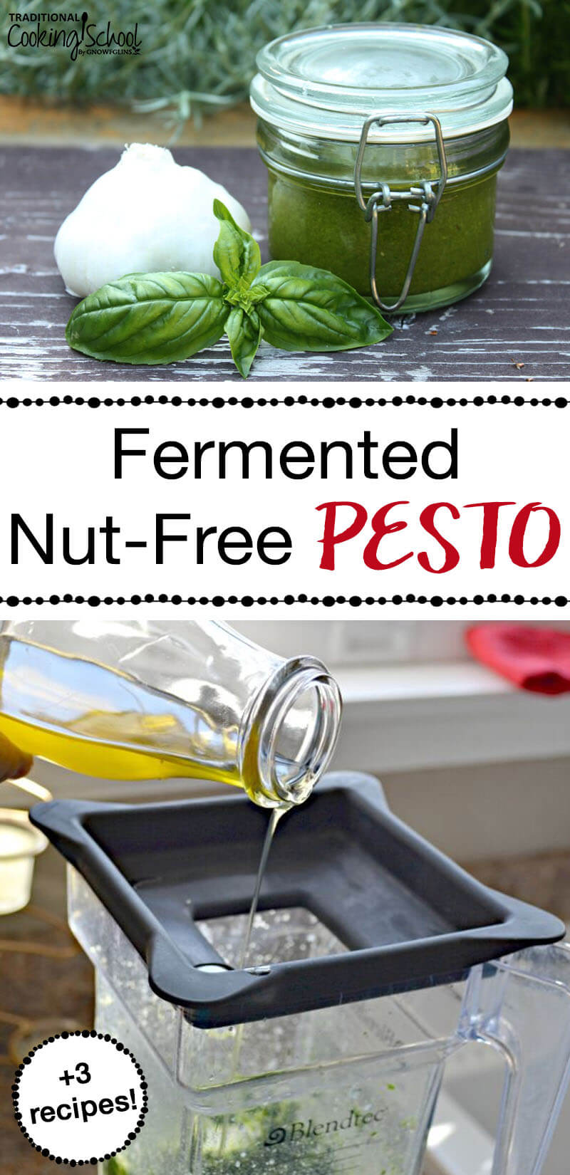 Fermented Nut-Free Pesto (+3 recipes) | Ahhhh, pesto. It's so simple, yet adds such complexity to hot or cold dishes. It has so few ingredients and takes so little time to make. In the case of this pesto, it's nut-free and also packs a powerful probiotic punch. | TraditionalCookingSchool.com