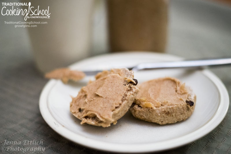 Spiced Honey Coconut Spread | I got tired of swiping a dozen pieces of sourdough toast twice every day. You know the drill: peanut butter AND jam, or butter AND honey... too much swiping! So I came up with this spread -- just one swipe and you're done. | TraditionalCookingSchool.com
