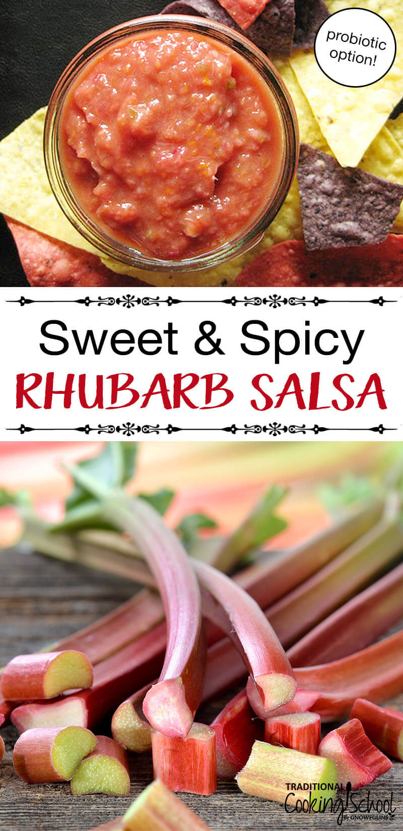 Rhubarb Salsa | Every year at this time my kitchen and freezer overflow with rhubarb-laden goodies. But my favorite use for rhubarb isn't a sweet dessert, though -- it's this scrumptious rhubarb salsa. | TraditionalCookingSchool.com