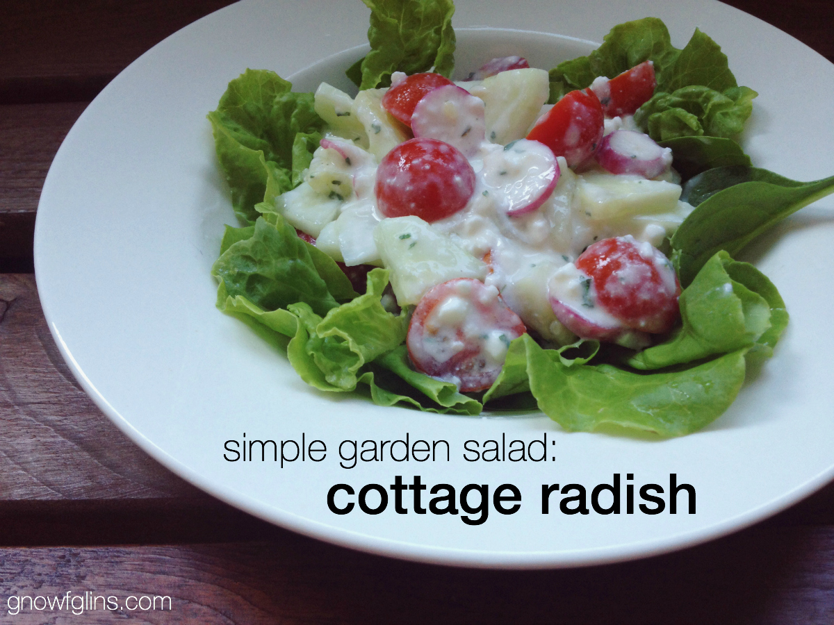 Cottage Radish Salad | The garden was producing baby greens, green onions, radishes, and herbs. I had cherry tomatoes and cucumbers from elsewhere. That's how this salad was born. :) By topping the greens with the vegetable mixture, you get a lovely presentation and greens that stay crisp until they hit your mouth. For the most flavor, texture, and fun, be sure to get both toppings and greens in each bite! | TraditionalCookingSchool.com