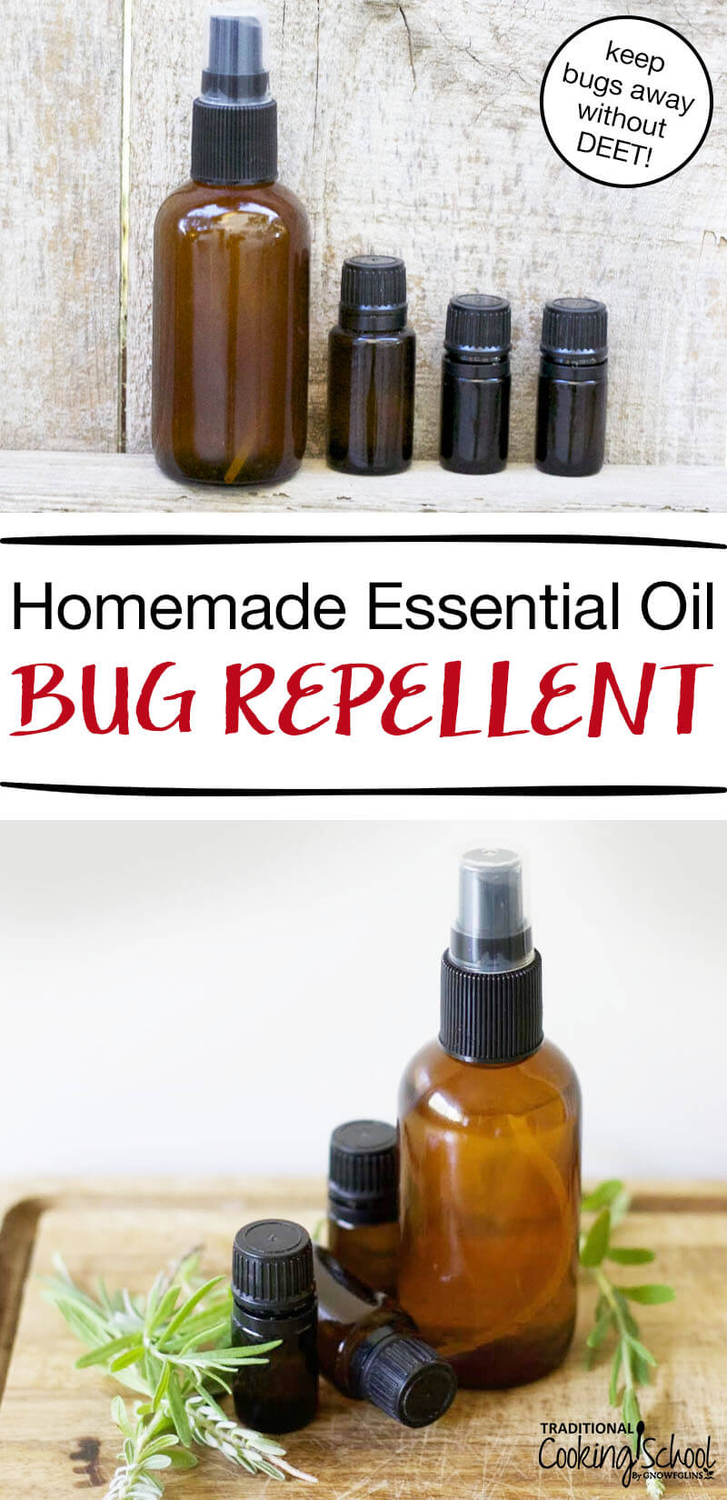 Homemade Essential Oil Bug Repellent | Summer is in full swing and that means social gatherings! Unfortunately some uninvited guests like to join the party, too:pesky bugs. Most commercial bug repellents contain harmful DEET. Instead, try this homemade bug repellent that uses essential oils! | TraditionalCookingSchool.com