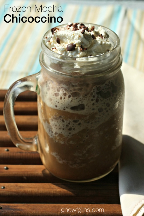 Frozen Mocha Chicoccino | Made with a brew of roasted chicory root, ice, raw milk or your favorite dairy substitute, roasted cacao powder, and a bit of rapadura sugar, then topped with a spoonful of whipped cream and some cacao nibs, this cold drink makes a great summer afternoon treat! | TraditionalCookingSchool.com